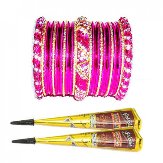 Free Mehndi with Pink Nagina Bangles