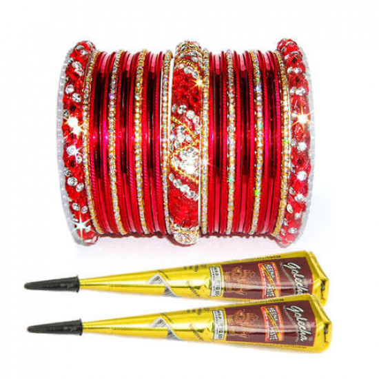 Free Mehndi with Red Nagina Bangles