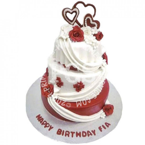 Kitchen Cuisine Red and White Rose Cake 10Lbs