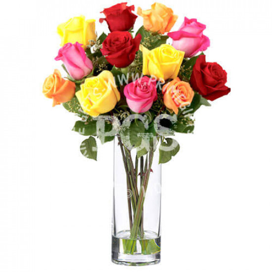 12 Mix Imported Roses Bouquet