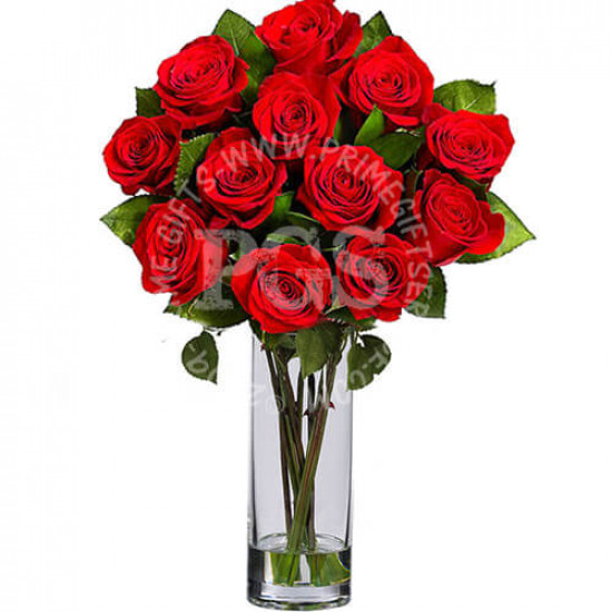 12 Imported Red Roses in Vase