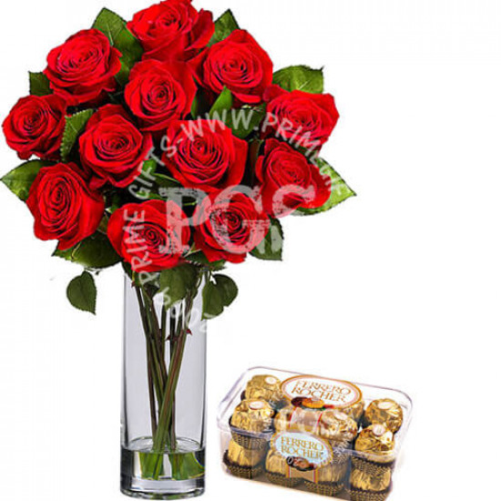 12 Imported Red Roses with Chocolates