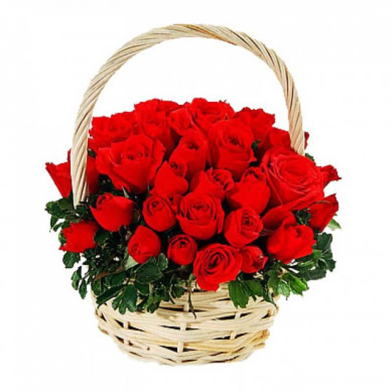 60 Red Roses Basket
