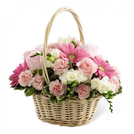 Graceful Pink Flowers Basket