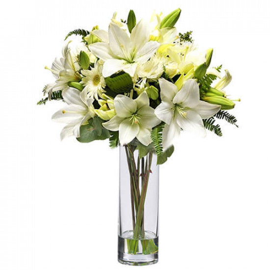 White Love Flowers in Vase