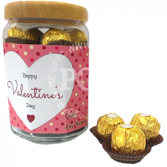 Happy Valentines Day Pink Heart Personalised Jar