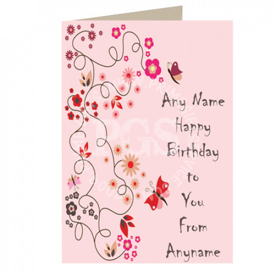 Happy Birthday Pink Personalised Card