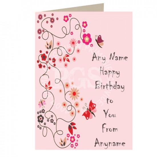 Happy Birthday Pink Personalised Card