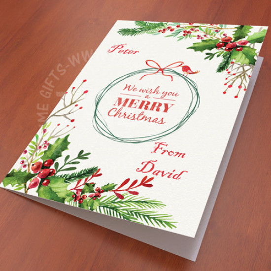 Personalised Water Color Christmas Card