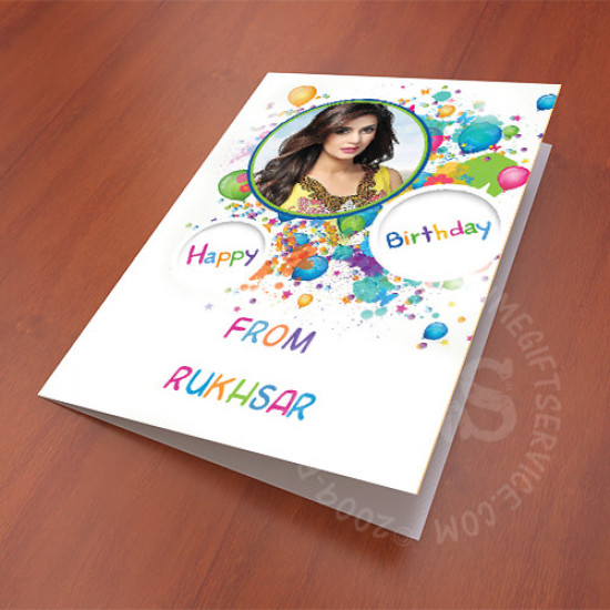 Colourful Birthday Picture Personalised Card