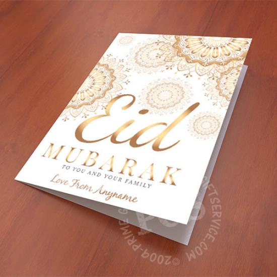 Eid Mubarak Golden Mandala Card
