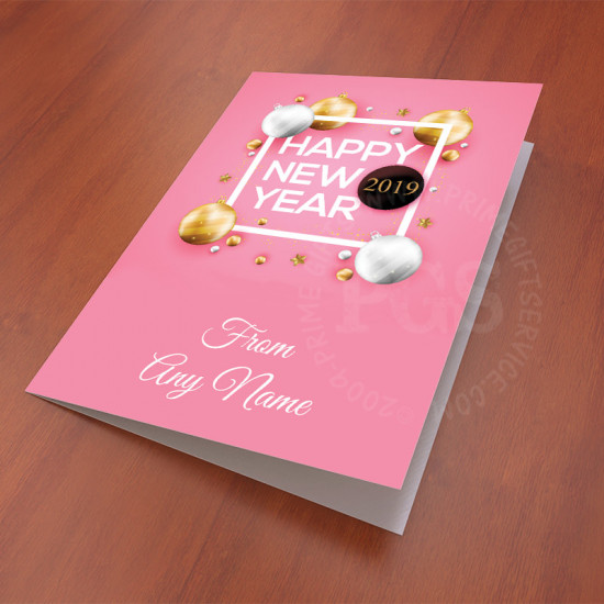 Pink Personalised New Year Card