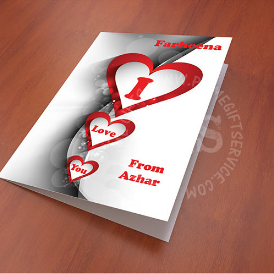 Three Hearts I Love You Personalised Card