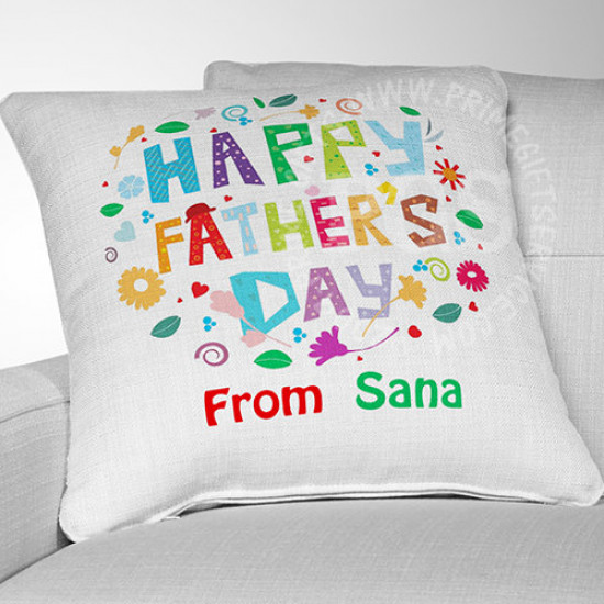 Happy Father's Day Coloured Cushion
