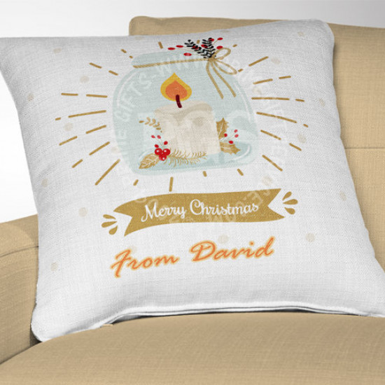 Candle in Jar Personalised Christmas Cushion