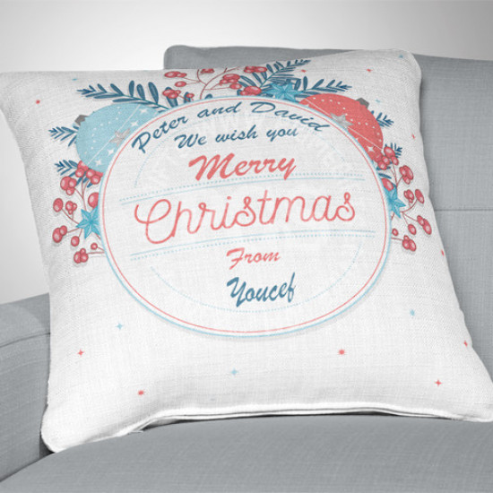 Christmas Round Decorated Frame Cushion