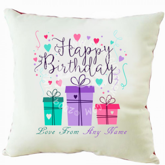 Happy Birthday Gift Personalised Cushion