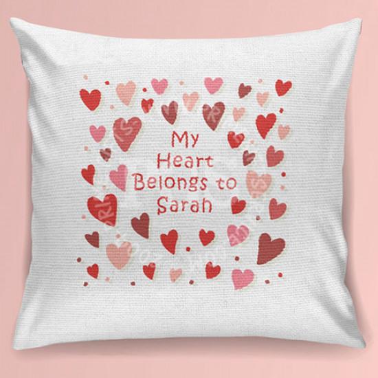 My Heart Belongs to Name Cushion