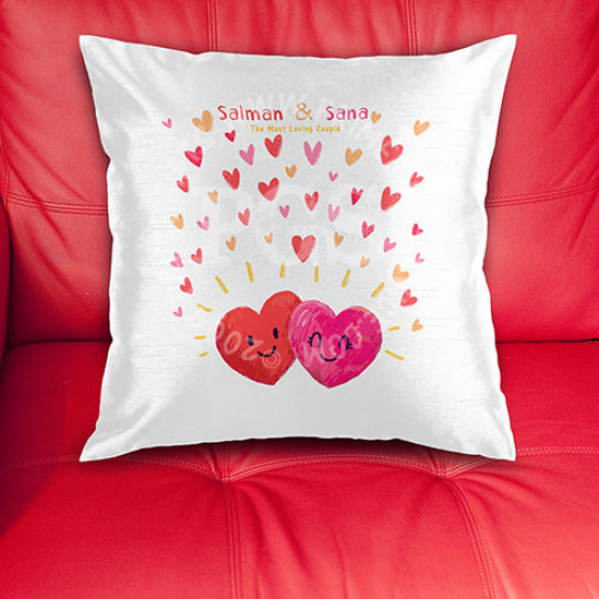 Smiling Hearts Couple Cushion