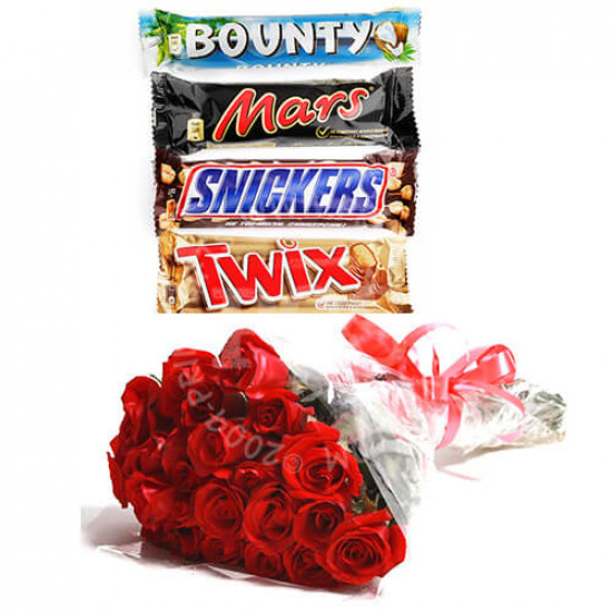 Assorted Chocolates and Red Roses