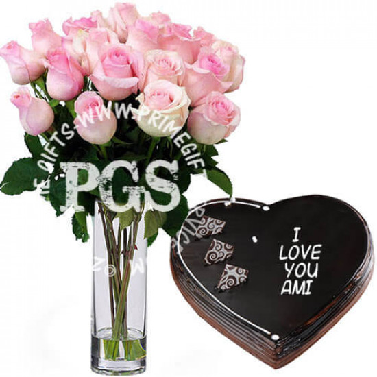24 Pink Imported Roses with Cake