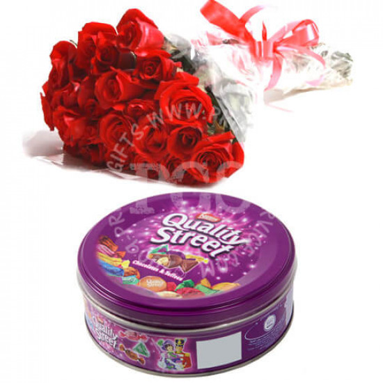 Quality Street Chocolates with Red Roses