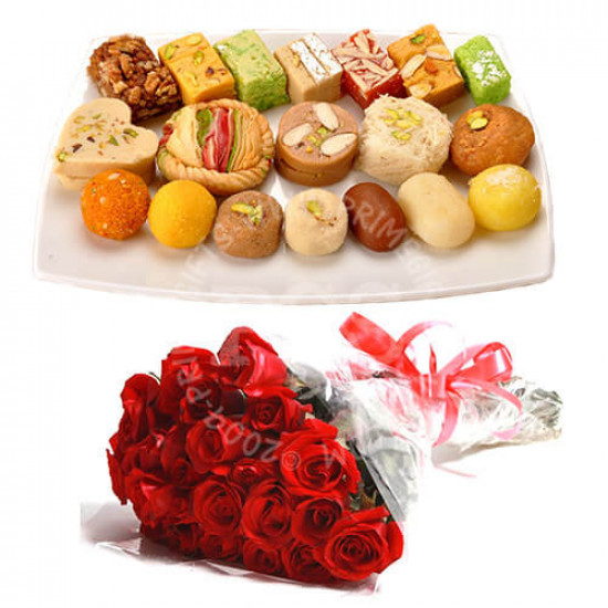 Mix Mithai 2Kg and 24 Red Roses