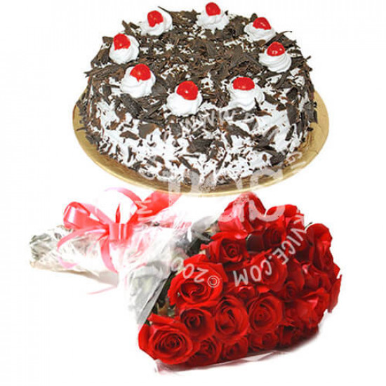 2Lbs Cake and 24 Red Roses