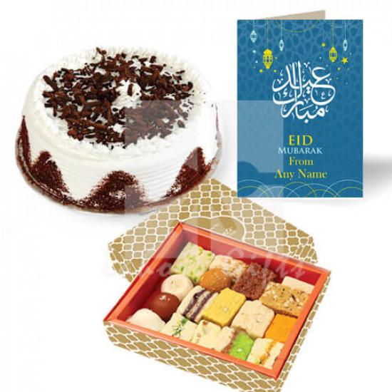 Eid Cake with Eid Card and Mithai