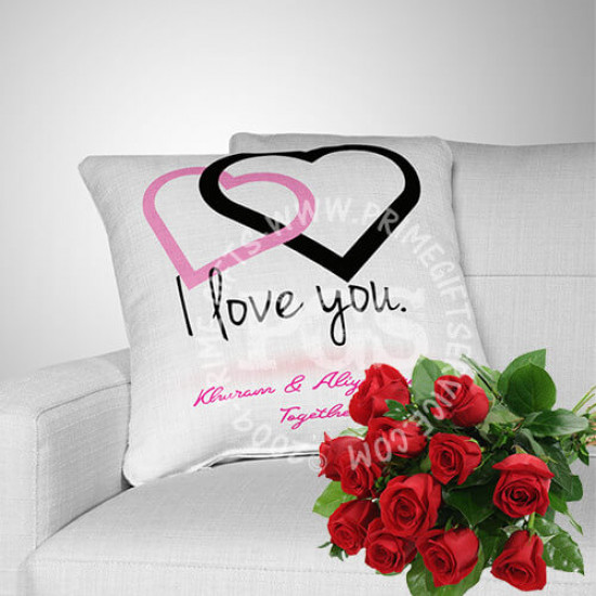Free Red Roses with Personalised Cushion