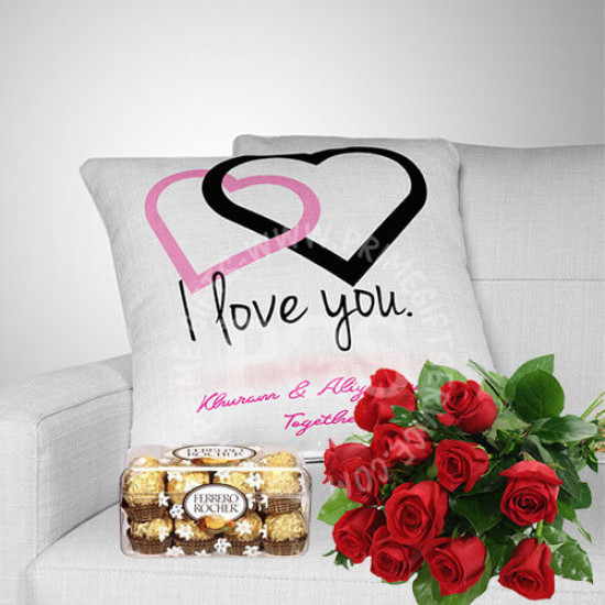 Free Red Roses with Personalised Cushion and Chocolates