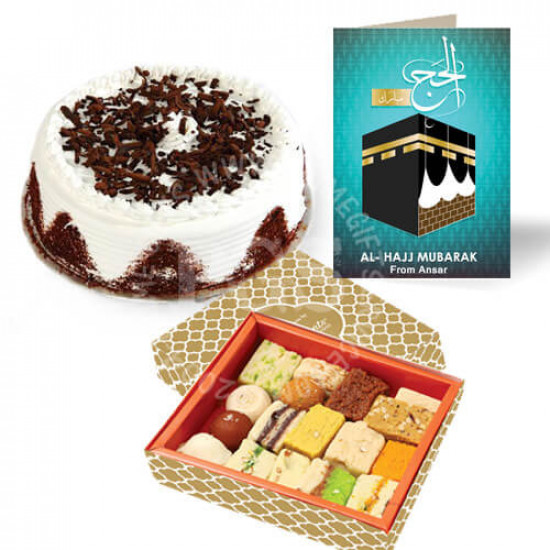2lbs Cake, 2Kg Sweets and Hajj Card