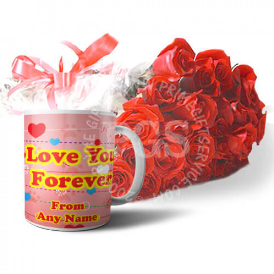 Love You Forever Mug with Roses
