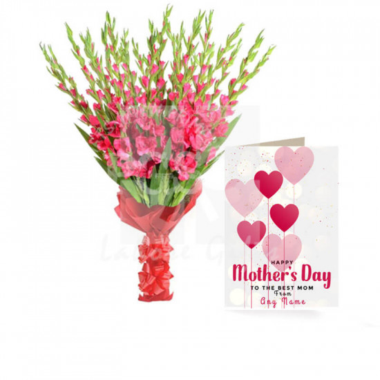 Mothers Day Card with Pink Gladiolus Bouquet