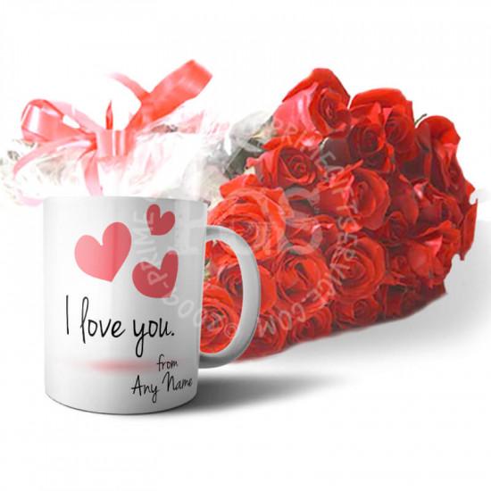 Red Roses and Personalised Mug