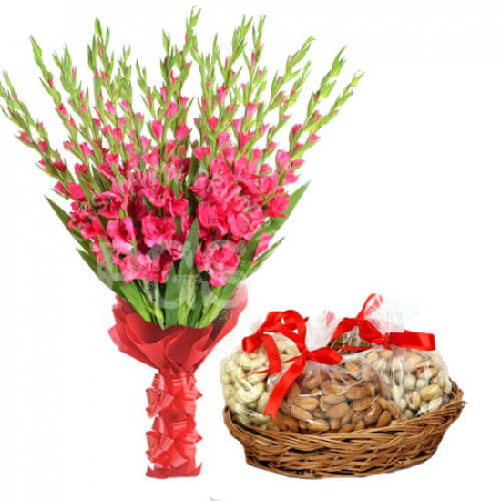 1 Kg Dry fruits and 12 Pink Gladiolus