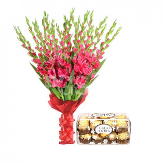 Ferrero Rocher Chocolates and 24 Pink Gladiolus