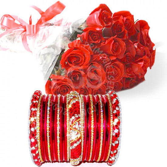 Red Bangles with Red Roses