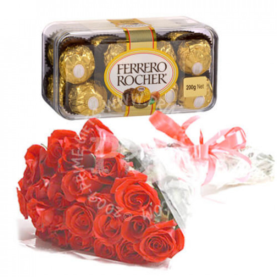 Ferrero Rocher Chocolates and 24 Red Roses