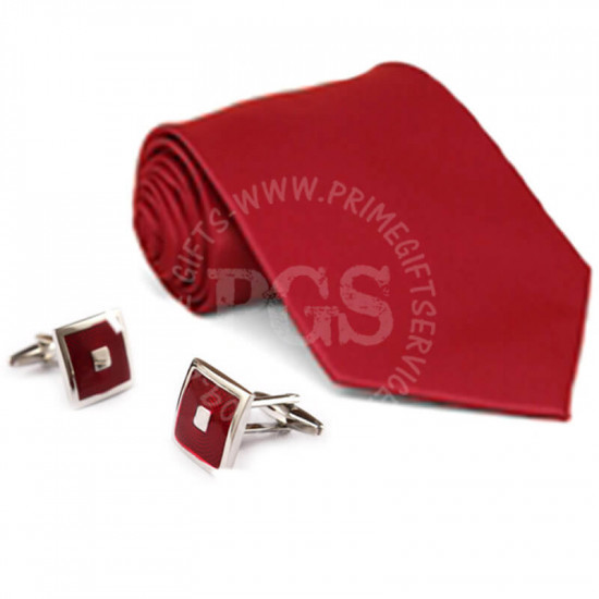 Red Tie and Matching Cufflinks