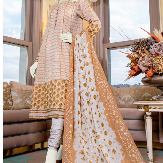 GOLD Embroidered Lawn Shirt With Lawn Dupatta Junaid Jamshed