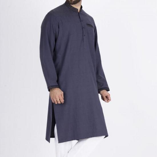 Dark Blue Semi Fashion Men Kurta