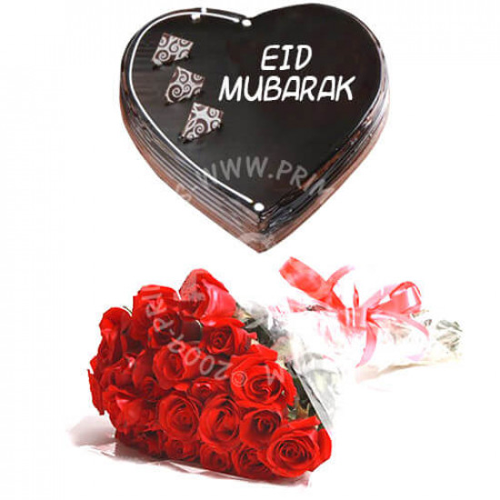 Heart Shape Eid Cake with Roses