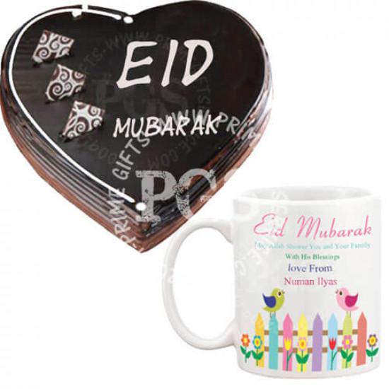 Eid Cake with Eid Personalised Mug